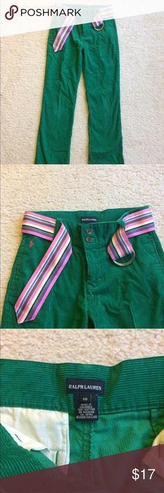 Green Ralph Lauren corduroy belted pants Ralph Lauren pants • corduroy • belted • straight leg • one button-close back pocket • Sz 10 • great condition • fast same/next day shipping • BUY IT NOW!!! Ralph Lauren Bottoms
