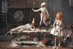 """""""Hensel and Gretel"""" by Annie Leibovitz for Vogue December 2009 with Lady Gaga as the witch, Lily Cole as Gretel and Andrew Garfield as Hensel"""