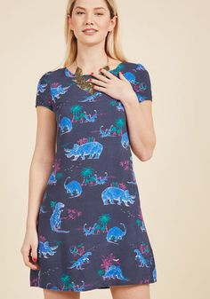 Always On the Way Easy Fit Dress in Dinosaur. A dinner invitation here, an afternoon of errands there - with your busy schedule, you call on this swing dress from our ModCloth namesake label to get you going in style! #blue #modcloth