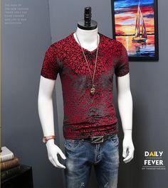 2017 Real Top Casual V-neck Broadcloth Spring And Summer Men's Short Sleeved Velvet Hollowed Out Slim Sleeve V Collar T-shirt
