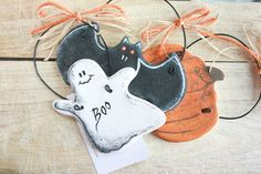 Primitive Halloween decorations Salt Dough Ornaments, Halloween wall hanging ornaments, Tree decorations, Halloween gift