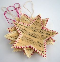 Shabby Chic Christmas Star Ornament Tutorial - Sheet music ironed on linen fabric with cotton thread border. from Fishes Make Wishes Sheet Music Ornaments, Sheet Music Crafts, Christmas Sheet Music, Noel Christmas, Music Paper, Shabby Chic Christmas Ornaments, Handmade Christmas, Christmas Decorations, Tree Decorations