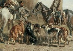 Wolf Hunting Borzois with Hunters on Horseback