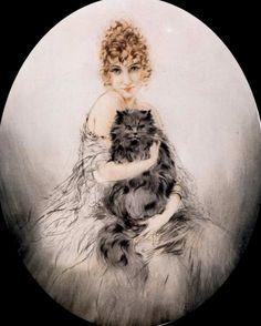 Icart, Louis (b,1888)- Cat in Lap