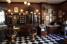 Vintage barber station for men.