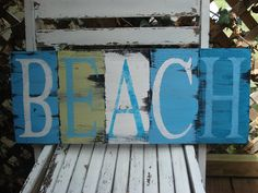 BEACH Sign-Hand Painted Distressed.