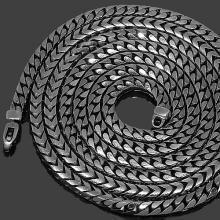 "14K Gold Black Rhodium Plated Mens Franco Chain 36"" 7 mm Gold Chains For Men, Black Rhodium, Black Gold, Solid Gold, Mens Gold Chains"