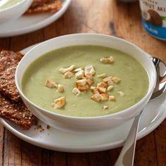 Roasted Garlic Avocado Soup with Herbed Yogurt Crackers - Allrecipes.com