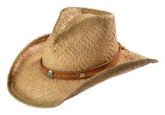 Shady Brady Braided Leather Suede Band & Sun Concho Crushable Straw Cowboy Hat available at #Sheplers