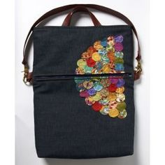 The Bohemian Fold-over Bag. The applique embellishment is stitched-down quilting-fabric circles.