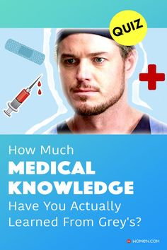 Test your medical knowledge learned from Grey's Anatomy with questions about medical practices and procedures. #medicalquiz #marksloan #greysanatomyknowledge #greysdoctor #greystrivia #medicaltrivia #greysintern Grey's Anatomy Quiz, Greys Anatomy, Callie Torres, Arizona Robbins, Mark Sloan, Cristina Yang, Meredith Grey, Quizzes, Trivia