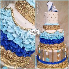 "royal white gold baby shower   IG: Royal_Cakes on Twitter: ""Baby Love 💙 #babyshower #babyboy #gold ..."