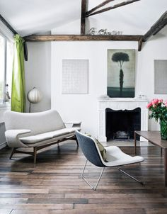 Chocolate beams and lime curtians are one of my favourite themes in a room.