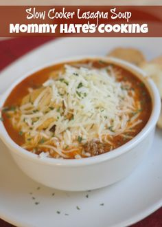 Slow Cooker Lasagna Soup I Mommy Hates Cooking - less water, more pasta, added mushrooms, eggs, & cream cheese