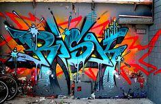 von: Risiko - Just writing my name in graffiti on the wall - Grafitti Graffiti Wall Art, Urban Graffiti, Graffiti Tagging, Graffiti Drawing, Graffiti Styles, Graffiti Alphabet, Graffiti Lettering, Street Art Graffiti, Mural Art