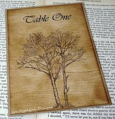 Fois Bois Table Number wood grain Fall DesignDouble by craftypagan, $6.40