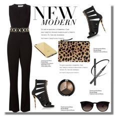 """""""Date Night: Jumpsuit Style"""" by fattie-zara ❤ liked on Polyvore featuring A.L.C., Tory Burch, Balmain, Clare V., Goldgenie, Ray-Ban and DateNight"""