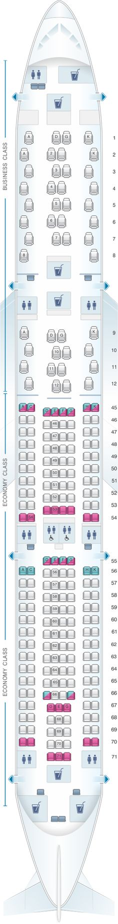Seat Map South African Airways Airbus A330 300