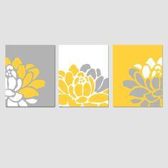 Floral Trio  Set of Three 8 x 10 Prints  Yellow Gray by Tessyla, $55.00