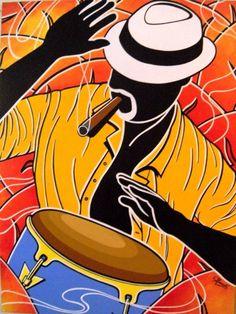 """Afro-Cuban Salsa"" Sampler iOS App released by Alive Drumming – Song Rhythm Tracks Cuba Art, Colombian Art, Latino Art, African Art Paintings, Figurative Kunst, Caribbean Art, Jazz Art, Original Paintings For Sale, Africa Art"