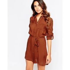 Club L Relaxed Shirt Dress ($40) ❤ liked on Polyvore featuring dresses, tobacco, club l, tie waist dress, club l dresses, brown dress and shirt dress