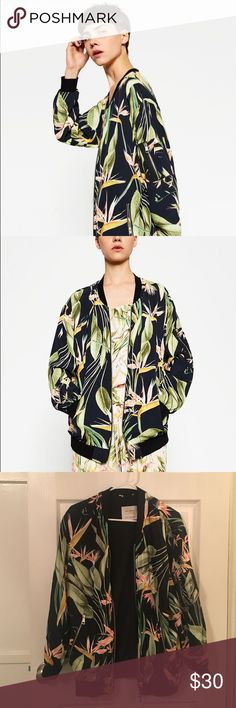 Zara tropical bomber jacket Brand New Without Tags (I accidentally took it off but I've never worn it) Size XS but fits S-M Third picture is the actual item Feel free to msg me if you want more pictures or have questions about the item! :) Zara Jackets & Coats