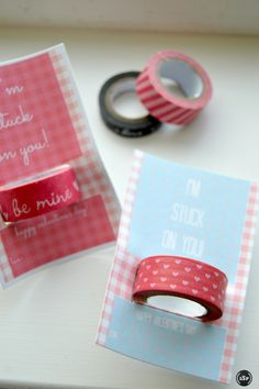 Stuck on You #WashiTape Valentines | http://sliceofsouthernpie.com | #ValentinesDay #printable