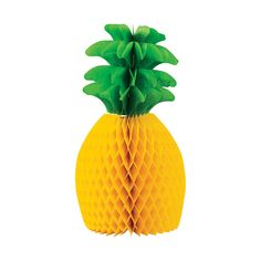 Make your celebration look as good as a fine pineapple! Great for luau party décor, this extra-large honeycomb accent comes made to look like an . Aloha Party, Hawaiian Luau Party, Tropical Party, Pinapple Birthday Cake, First Birthday Centerpieces, Rainbow Waffles, Luau Baby Showers, Honeycomb Decorations, Baby Shower Yellow