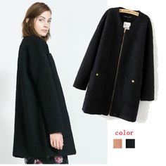 2013 New Women Coat Winter Brand Fashion Lady Trench Outerwear Jackets Zipper Pocket Loose Overcoat two-tone Free Shipping $36.68