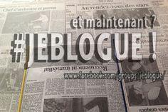 Sur le fond, le papier journal représente mon passé. En avant, mon présent avec #jeblogue.