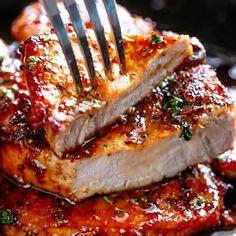 Easy Honey Garlic Pork Chops with Pork Chops Bone-in, Salt, Pepper, Garlic Powder, Olive Oil, Unsalted Butter, Garlic, Honey, Water, Rice Wine Vinegar.