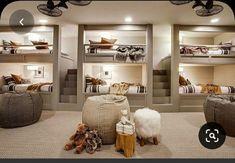 Bunk Bed Rooms, Bunk Beds Built In, Built In Beds For Kids, Queen Bunk Beds, Adult Bunk Beds, Dream Home Design, House Design, Home Bedroom, Bedroom Decor