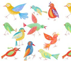 A flock of colourful winged creatures ready for a day out on the town. Some are very anxious to get going. Done in crayon.