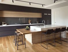 Timber panelled kitchen
