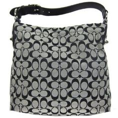 $228.00-$298.00 This Coach Penelope Bag is made with black and white Coach Signature fabric. Accented in silver hardware with adjustable buckle designed shoulder strap. Turn style silver hardware designs on both sides of the tote. Comes with matching Coach hang tag. Trimmed in black stitching.