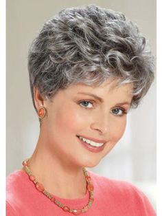 Browse our full range of Latest Women Grey Hair Wig and accessories in our grey hair wigs store and enjoy a fabulous way to change your appearance. Short Permed Hair, Short Grey Hair, Short Wigs, Short Hair Cuts, Long Wigs, Grey Hair Cure, Grey Hair Wig, Hair Dye, Blonde Hair