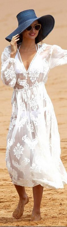 White floral lace beach cover up