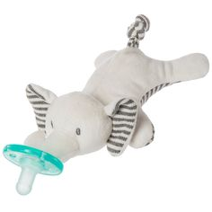 The 6-inch WubbaNub pacifier, made exclusively by Mary Meyer, is a uniquely designed stuffed toy with a Soothie pacifier.