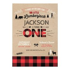 Lumberjack Flannel First Birthday Invitation - invitations personalize custom special event invitation idea style party card cards