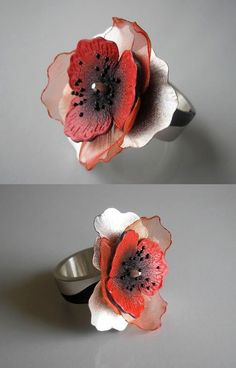 Ring | Jolanta Bromke. 930 silver, organza and natural leather, hand painted with water and abrasion resistant paint.