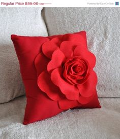 Red Pillows Red Rose on White Pillow by bedbuggs on Etsy Red Throw Pillows, White Pillows, 3d Rose, Flower Pillow, Diy Rose Pillow, Red Accents, My Favorite Color, Decorative Pillows, Pillow Covers