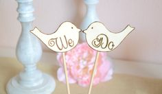 We Do set of love birds wedding cake topper by BellaBrideCreations, $21.00