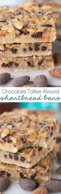 (Substitute vegan alternatives)These Chocolate Toffee Almond Shortbread Bars have a thick shortbread crust and a gooey filling with chocolate, toffee, and almonds! An fast and easy bar cookie recipe everyone will love. Cookie Desserts, Just Desserts, Cookie Recipes, Dessert Recipes, Bar Recipes, Low Carb Dessert, Eat Dessert First, Dessert Bars, Weight Watcher Desserts