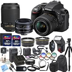 awesome Nikon D3300 24.2 MP CMOS Digital SLR Camera With Nikon 18-55mm f/3.5-5.6G VR II AF-S DX NIKKOR Zoom Lens & Nikon 55-200mm f/4-5.6G ED IF AF-S DX VR Nikkor Zoom Lens & Nikon 50mm f/1.8D AF Nikkor Lens & CS Professional Package: Includes High Speed 64GB SDXC Memory Card, High Speed 32GB SDHC Memory Card, SD Card Reader, Memory Card Wallet, SLR Hand Strap, Lens Cap Keeper, 2x Nikon EN-EL14a Replacement Batteries, Rapid Travel Charger, HDMI Cable, High Definition Wide Angle Lens…