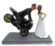 motorcycle wedding toppers | Motorcycle Wedding Cake Toppers but blue paint instead of green