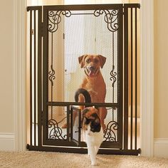 """42""""H Tension-mount Dual Door Steel Mesh Pet Gate - Frontgate Dog Gate - http://www.thepuppy.org/42h-tension-mount-dual-door-steel-mesh-pet-gate-frontgate-dog-gate/"""