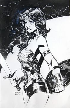 Original signed Wonder Woman sketch in pen and ink by Jim Lee signed in Collectibles, Comics, Original Comic Art, Drawings, Sketches Comic Book Artists, Comic Book Characters, Comic Artist, Comic Character, Comic Books Art, Jim Lee Batman, Batman Robin, Gotham Batman, Wonder Woman Kunst
