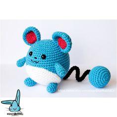 Marill the Pokemon - Pokemon Go and Pokemon manga inspired amigurumi crochet pattern. Digital file only! Pokemon Crochet Pattern, Pikachu Crochet, Kawaii Crochet, Crochet Disney, Crochet Toys Patterns, Amigurumi Patterns, Stuffed Toys Patterns, Amigurumi Doll, Crochet Crafts