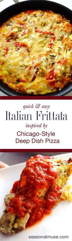 Easy Frittata inspired by Chicago deep-dish pizza. A crisp potato crust is loaded with your favorite Italian flavors, then topped with cheese and served with marinara | seasonalmuse.com