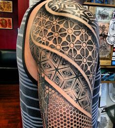 Sacred Geometry Triangle Tattoos For Men In Spiral Shape